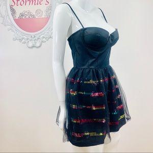 PINK Victoria's Secret/Black Corset Rainbow Sequin